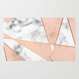 Marble texture design with golden geometric lines Rug