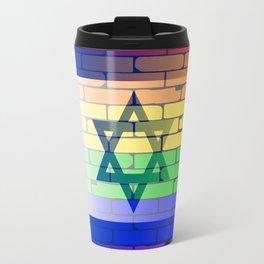 Gay Rainbow Wall Israel Flag Travel Mug