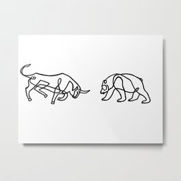 Bull vs Bear Metal Print