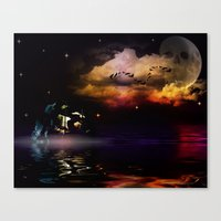pirate ship Canvas Prints featuring Pirate Ship by Moon Willow