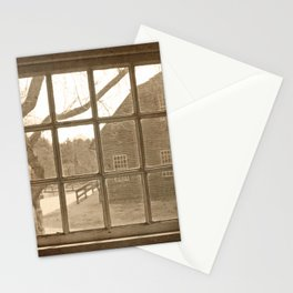 Sepia Colonial Scene Through Antique Window Stationery Cards