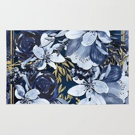 Navy Blue & Gold Watercolor Floral Rug