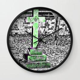 Green Cross Gothic Wall Clock