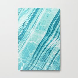 Abstract Marble - Teal Turquoise Metal Print