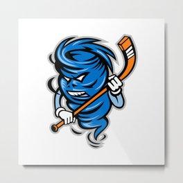 Tornado Ice Hockey Player Mascot Metal Print