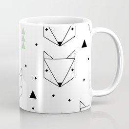 Scandinavian woodland fox forest mint black and Coffee Mug