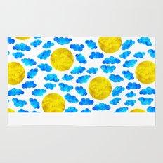 Cute blue cartoon clouds and sun. Rug
