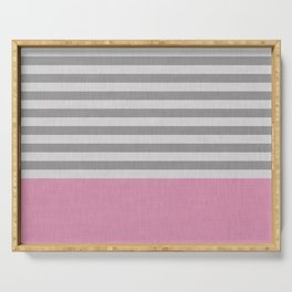 Pink and gray stripes and color blick Serving Tray