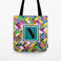monogram Tote Bags featuring N Monogram  by mailboxdisco