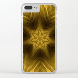 Golden Amber Metalic Abstract Star #Kaleidoscope Clear iPhone Case