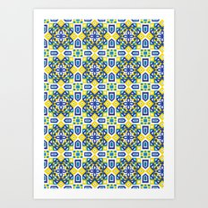 Ethnic Geometric Moroccan Watercolor Seamless Patern 3 Art Print
