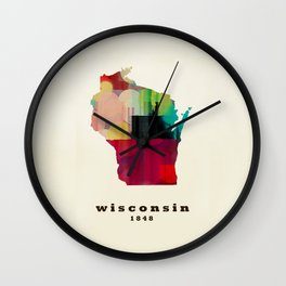 Wisconsin state map modern Wall Clock