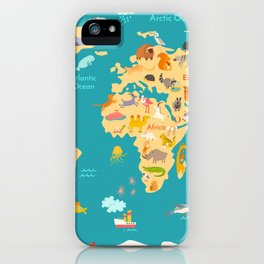 Animal map for kid. World vector poster for children, cute illustrated iPhone Case