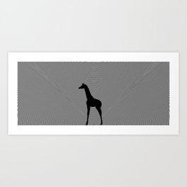 Giraffe Psychedelic Silhouette  Art Print