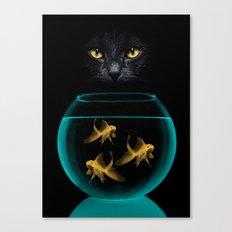 Black Cat Goldfish Canvas Print