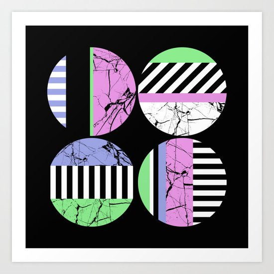 AMPS Uno - Abstract Marble Pastel Stripes Art Print