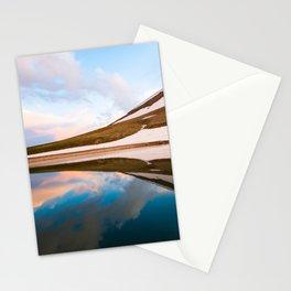 Mountain lake landscaoe at sunset Stationery Cards