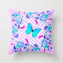 Turquoise Blue Butterflies Morning Glories Abstract Pattern Throw Pillow