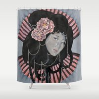 peonies Shower Curtains featuring Peonies by kaliwallace