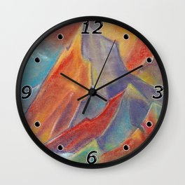 Abstract colorful Mountains at sunset by pastel Wall Clock