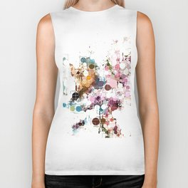 Decorative Subdued Pastel Pattern Abstract Biker Tank