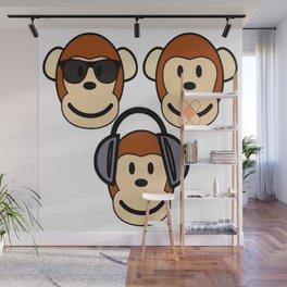 Illustration of Cartoon Three Monkeys - See, Hear, Speak No Evil Wall Mural