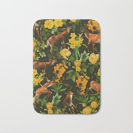 Deer and Floral Pattern Bath Mat