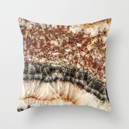Agate Crystal VI // Red Gray Black Yellow Orange Marbled Diamond Luxury Gemstone Throw Pillow