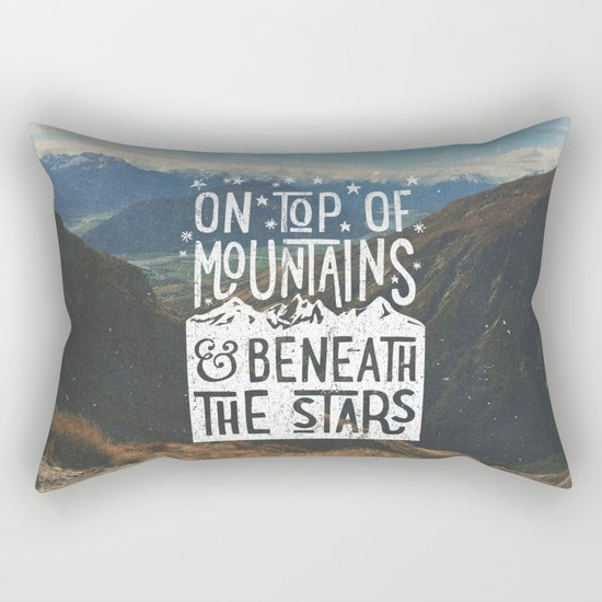 on top of mountain and beneath the stars Rectangular Pillow