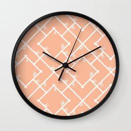 Bamboo Chinoiserie Lattice in Peach + White Wall Clock
