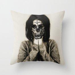 Bjork skull Throw Pillow