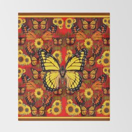 COFFEE BROWN MONARCH BUTTERFLY SUNFLOWERS Throw Blanket