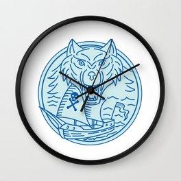 Seawolf Pirate Ship Circle Mono Line Wall Clock