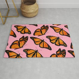 Monarch Butterfly Pattern-Pink Rug