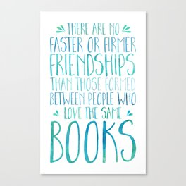 Bookish Friendship - Blue Canvas Print
