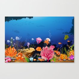 Beautiful Coral Reef Animals Canvas Print