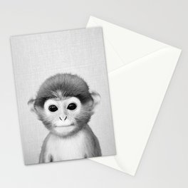 Baby Monkey - Black & White Stationery Cards