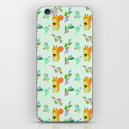 Cute hand painted yellow orange squirrel teal coral floral pattern iPhone Skin