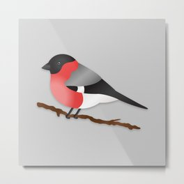 Cute Eurasian Bullfinch Cartoon Bird Illustration On Gray Metal Print