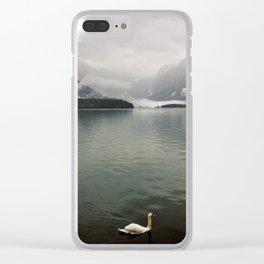 Swans enjoying Hallstatt Clear iPhone Case