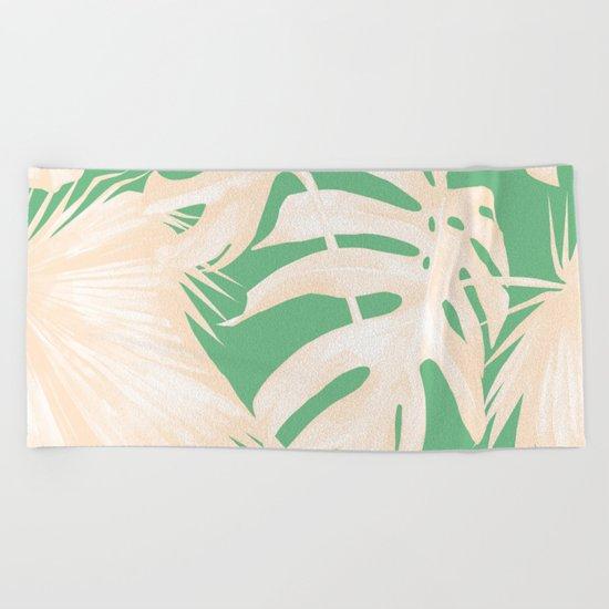 Tropical Coral Green Palm Leaf Pattern Beach Towel