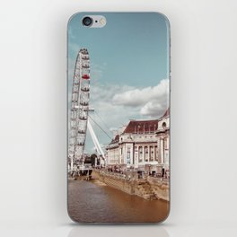 Postcard Picture of the London Eye & The Thames, moody blue tint iPhone Skin