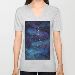 Galaxy Space Painting Stars Cosmic Universe Nebula Art Unisex V-Neck