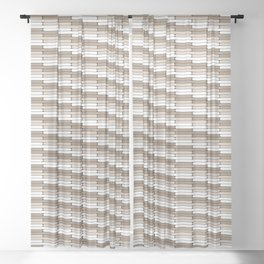 Staggered Oblong Rounded Lines Pattern Pantone Hazelnut Sheer Curtain