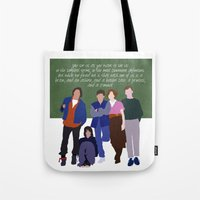 breakfast club Tote Bags featuring The Breakfast Club by Christina