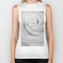 Single white rose close up Biker Tank