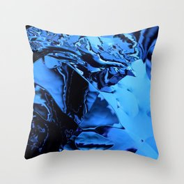 metallic blue distorted Throw Pillow