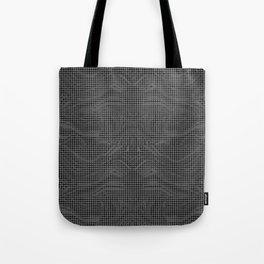 SQUID dark silver grey circle grid on black abstract pattern Tote Bag