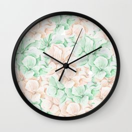 Pastel green coral hand painted watercolor elegant floral Wall Clock