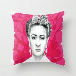 Rosa Frida Throw Pillow